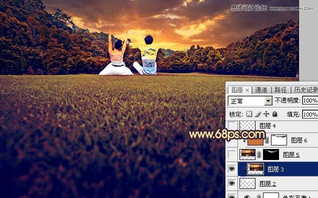 Photoshop调出夕阳美景效果的外景婚纱照片