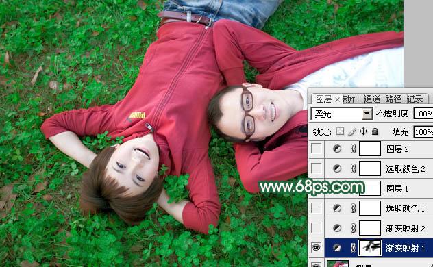 Photoshop调出橙红色幸福甜美的情侣照片