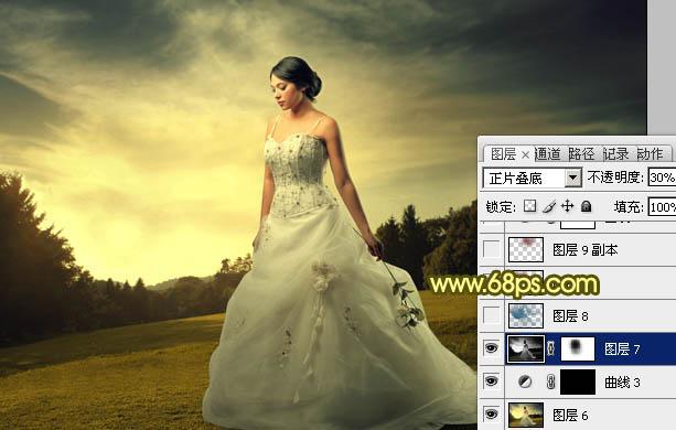 用Photoshop调出黄褐色夕阳效果婚纱照片