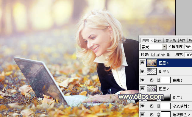 Photoshop照片美化:制作淡黄色效果OL美女照片