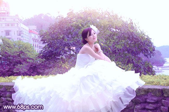 Photoshop甜美紫色美女婚纱照片调色处理