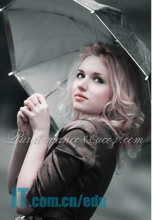 Photoshop调出中性青色唯美卷发美女照片