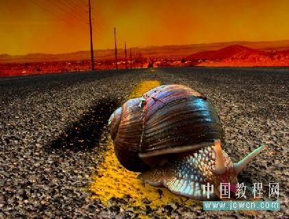 Photoshop合成蜗牛赛跑创意图片的PS教程
