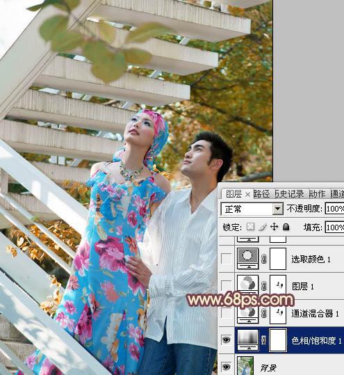 Photoshop打造红褐色外景情侣写真照片教程