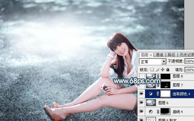 Photoshop调出泛白色的草地美女照片教程