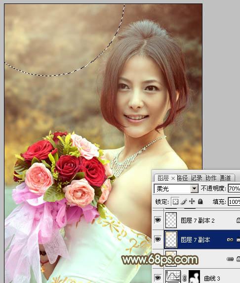 用PS调色打造暖色阳光色彩的鲜花美女照片