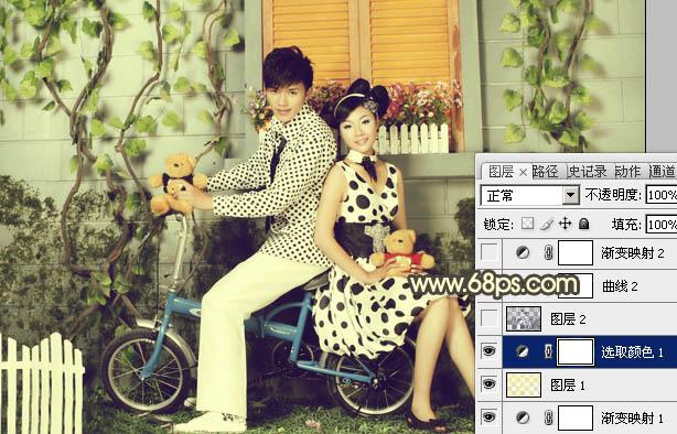 PS调色打造淡黄怀旧色彩效果的年轻情侣照片