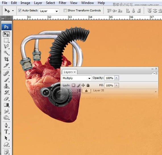 PS合成创意抽象的机械心脏海报设计教程