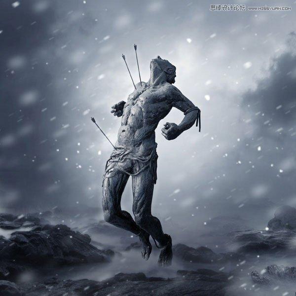 使用PS合成暴风雪中被射杀的勇士场景效果图