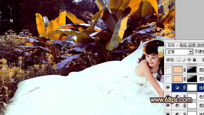 Photoshop调出橙紫色阳光甜美女孩婚纱照片
