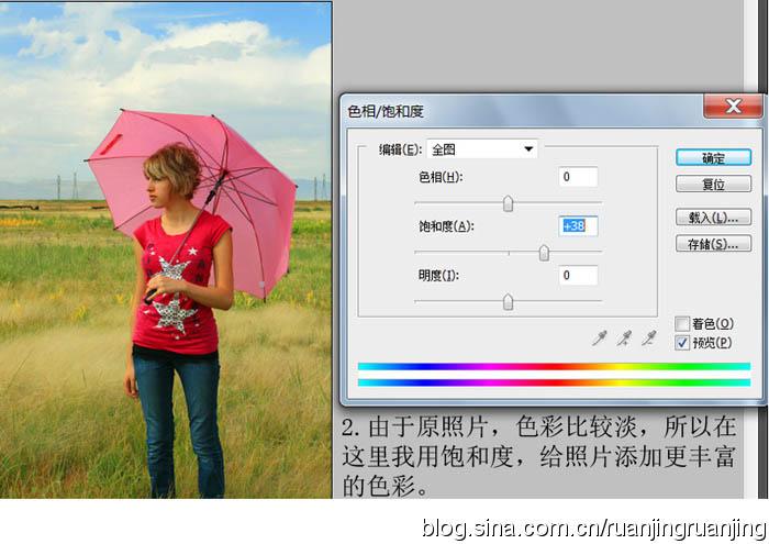 PS调色把草原上拍摄的人物照片调成青黄色