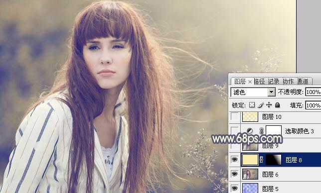PS调色调出淡黄色朦胧背景色彩的人物照片