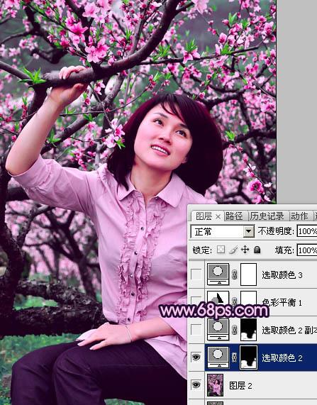 Photoshop调出鲜艳桃红色效果的踏青女孩照片