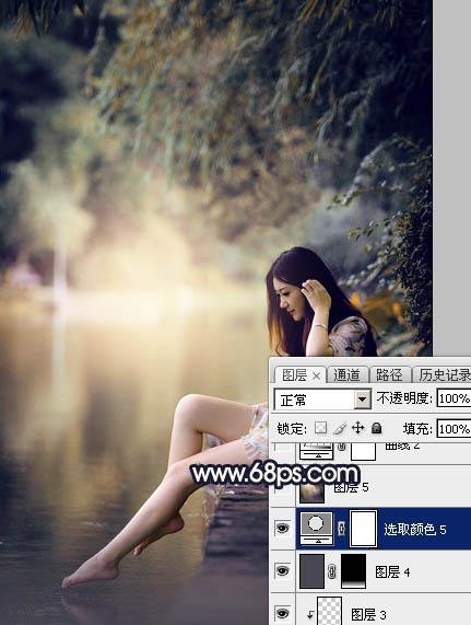 PS打造紫褐色背景的湖景美女照片调色教程