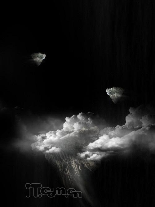 用Photoshop合成火焰云彩上的天使女孩照片
