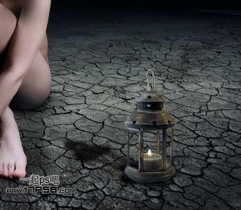 Photoshop合成坐在干枯荒地里的个性女孩照片