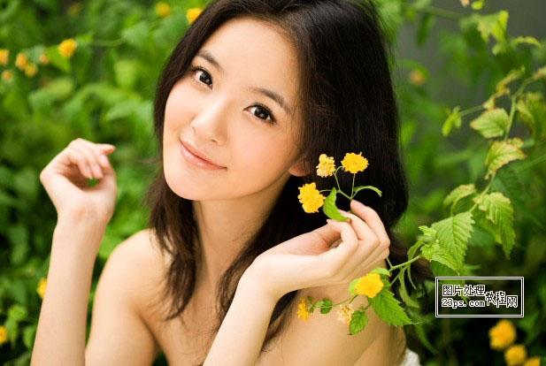 用Photoshop调出橙红色彩的漂亮美女头像照片