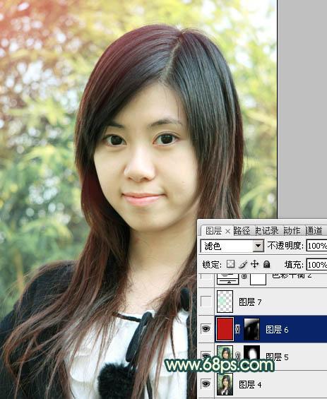PS调色光亮青绿色彩的可爱女孩图片处理