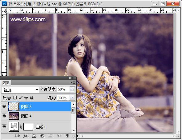 Photoshop制作褐色拉丝背景的怀旧美女照片
