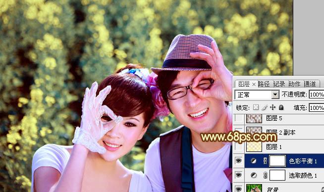 Photoshop调出柔美阳光色彩效果的情侣照片