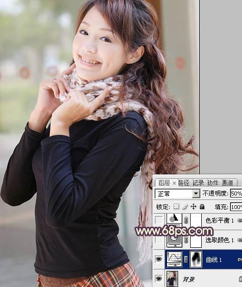 PS调出青黄色的甜美微笑女孩照片处理教程