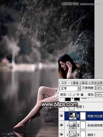 Photoshop调出暗冷色效果的外景河边人像