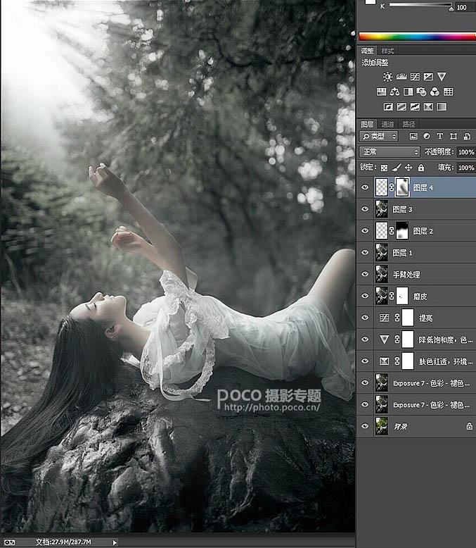 PS调出阳光照射下的灰绿色树林美女照片