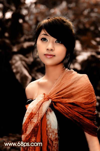 PS打造红褐色效果的漂亮女孩图片调色教程