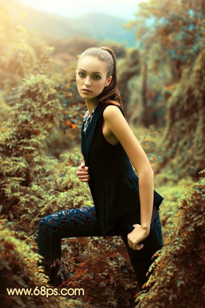 PS打造青褐色山林背景的人物摄影照片调色教程