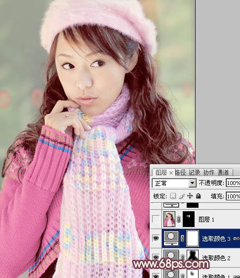 用Photoshop调出淡紫色的冬装漂亮女孩照片
