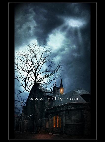 Photoshop合成黑夜中的神秘恐怖城堡照片