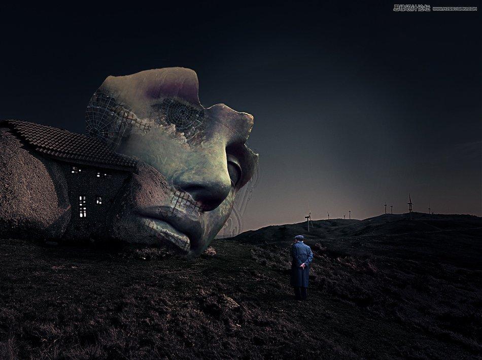 使用PS合成冷色风格的巨石人脸场景效果图