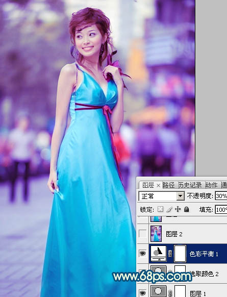 PS调出时尚青蓝色街拍美女照片处理教程