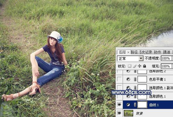PS调出梦幻黄色草地上人物照片色彩处理教程