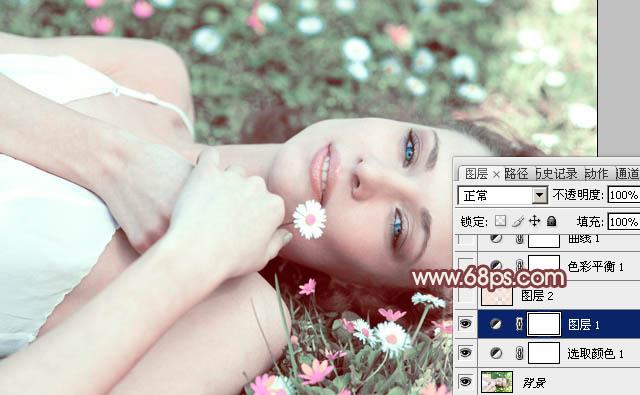 PS调出梦幻阳光下的粉色美女图片处理教程