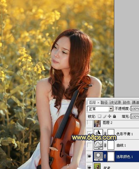 Photoshop调出金黄色背景的女孩外景图片