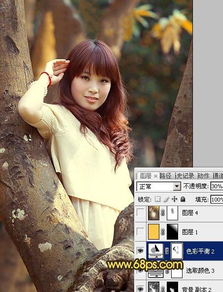 PS调出黄褐色树林女孩写真图片处理教程