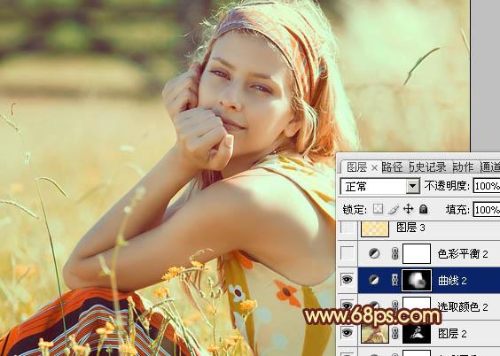 PS打造唯美金黄色效果的外景女孩图片处理教程