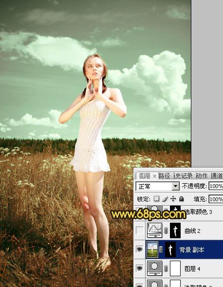 Photoshop金黄色草地人物照片处理教程