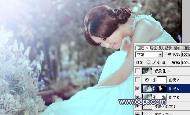 PS制作青色甜美婚纱照片后期调色处理教程