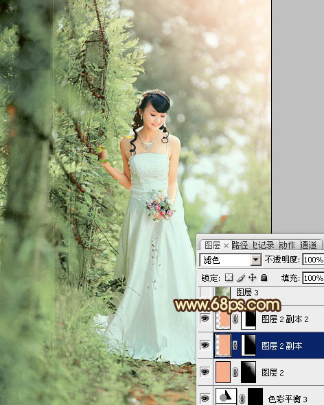 PS调色打造树林中优雅的阳光美女婚纱照片
