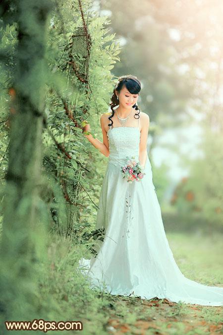 Photoshop调出优雅阳光美女婚纱照片处理教程
