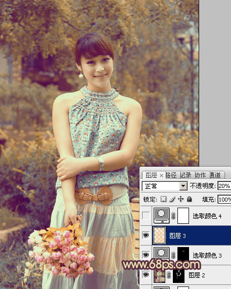 Photoshop调出橙黄色柔美的公园中女孩照片