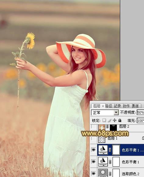 Photoshop调出褐色虚化背景的唯美户外写真图片