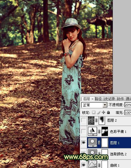 Photoshop给树林人物照片润色美化处理教程