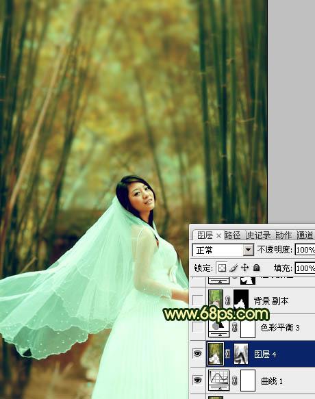 Photoshop给黄绿色竹林背景的婚片润色处理教程