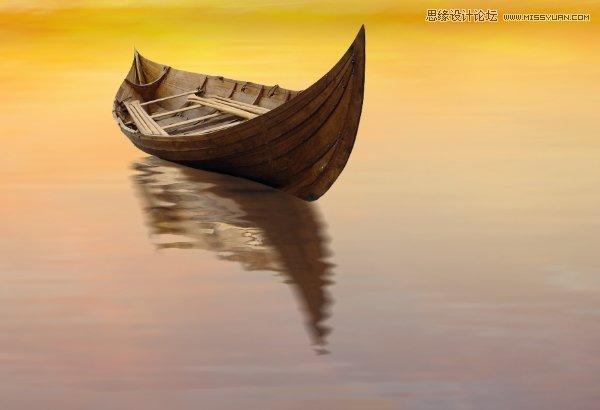 Photoshop合成梦幻风格的湖中小舟场景图