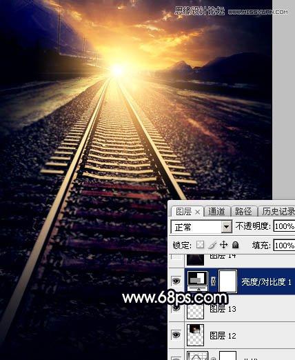 Photoshop给钢轨照片添加唯美的夕阳景色