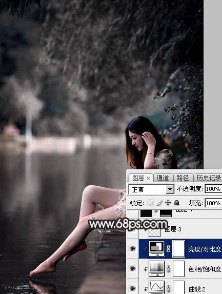 PS打造暗调冷色灰褐色湖景美女照片调色教程