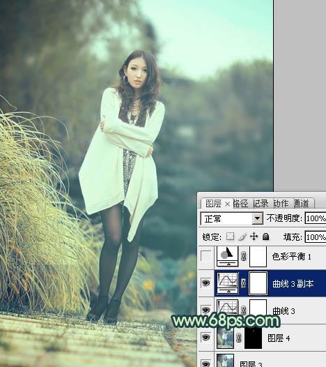 PS调色给时尚丝袜女孩照片添加淡青色效果